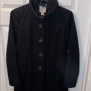J Crew Black Ruffle Collar Wool Coat | 4 petite